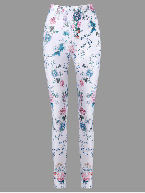 lady High Waist Tiny Floral Cigarette Pants - WHITE M Mobile
