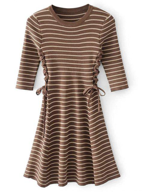 ladies Lace-up Ribbed Sweater Dress - COFFEE ONE SIZE Mobile