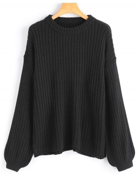 shop Lantern Sleeve Oversized Pullover Sweater - BLACK ONE SIZE Mobile