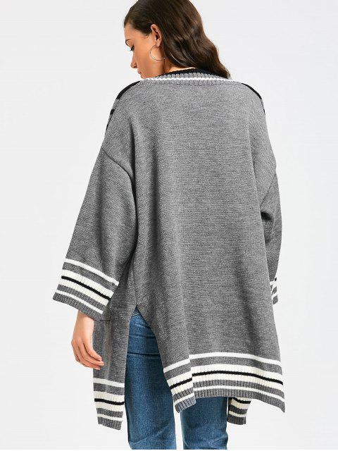 women Stripes Panel Side Slit Open Front Cardigan - GRAY ONE SIZE Mobile