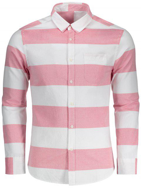 ladies Button Down Striped Shirt - RED AND WHITE 3XL Mobile