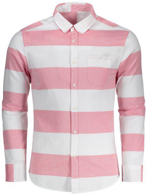 Chemise Rayée à Boutons - Rouge et Blanc L Mobile