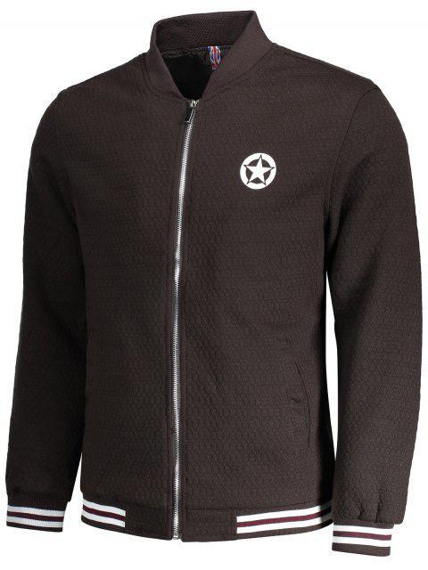 women's Textured Zipper Baseball Jacket - COFFEE 2XL Mobile
