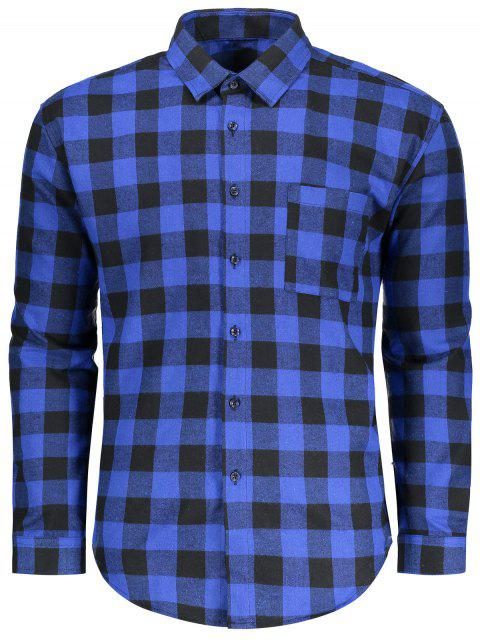 ladies Button Up Checked Shirt - BLUE AND BLACK M Mobile
