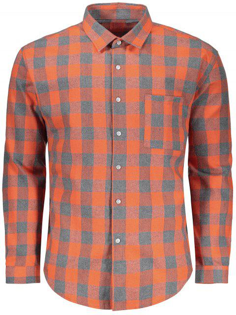 outfit Checked Button Up Shirt - GREY AND ORANGE L Mobile