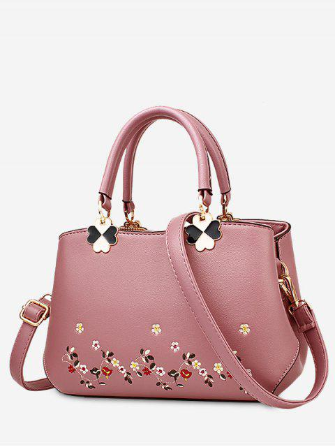 fancy Embroidery Metal Flower Tote Bag - PINK  Mobile