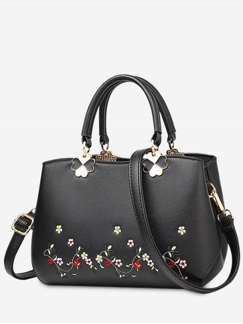 sale Embroidery Metal Flower Tote Bag - BLACK  Mobile