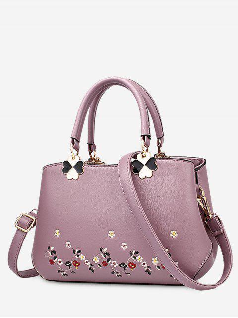 La bolsa de asas de la flor del metal del bordado - Púrpura  Mobile