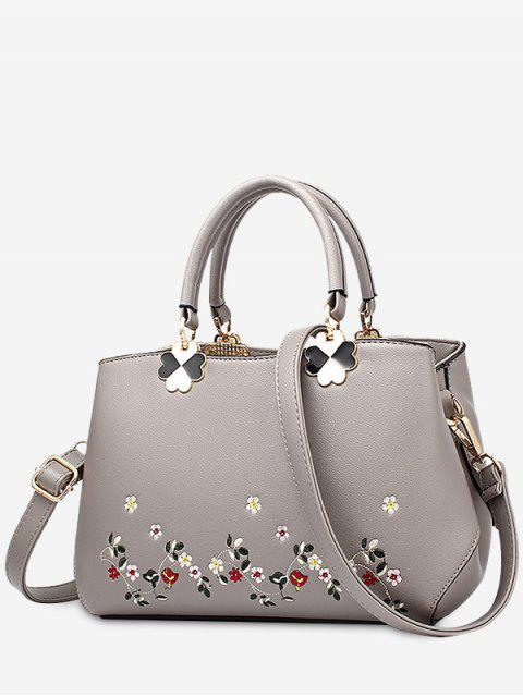 ladies Embroidery Metal Flower Tote Bag - BRONZE-COLORED  Mobile