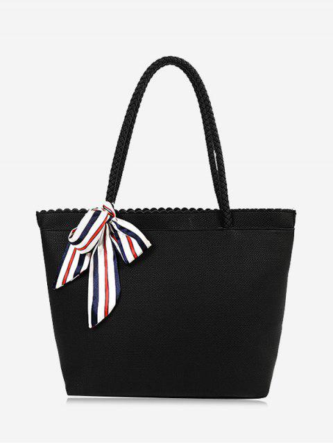 women's Bow Scallop Shoulder Bag - BLACK  Mobile
