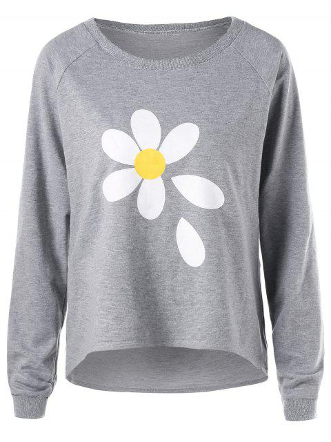 Sweat-shirt à Motif Fleur à Manches Raglan - Gris XL Mobile