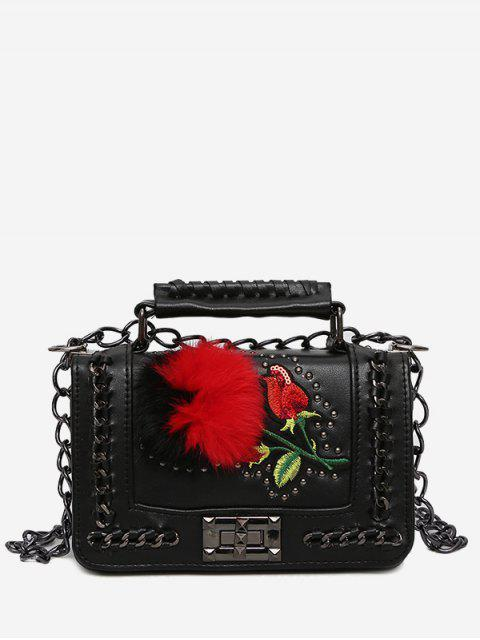 women's Embroidery Pom Pom Chain Crossbody Bag - BLACK  Mobile