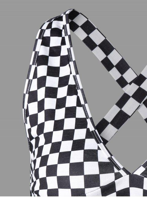 chic Plaid Criss Cross Tank Top - BLACK WHITE XL Mobile