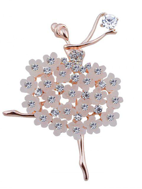 Broche en Forme de Fée Dansante Style Fleurs en Strass - Blanc  Mobile