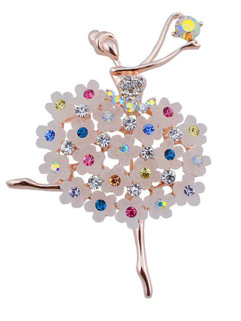 unique Rhinestone Dancing Fairy Flower Brooch - COLORMIX  Mobile