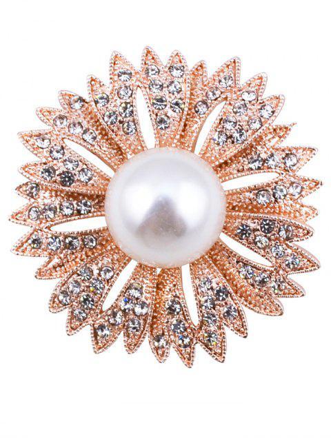Broche de diamantes de imitación de imitación de flores perlas - Dorado  Mobile