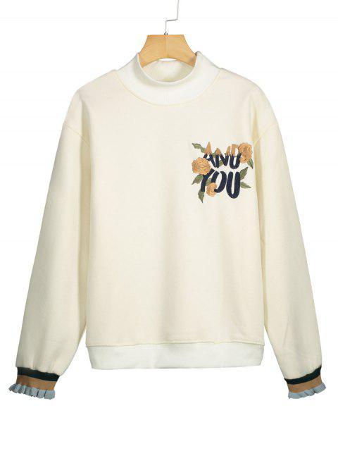 Gesticktes Sweatshirt mit Rüschen Ärmel und Mock Neck - Beige (Weis) XL  Mobile