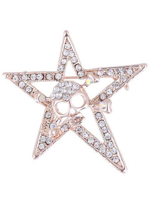 Rhinestone Halloween cráneo estrella aleación broche - Dorado  Mobile