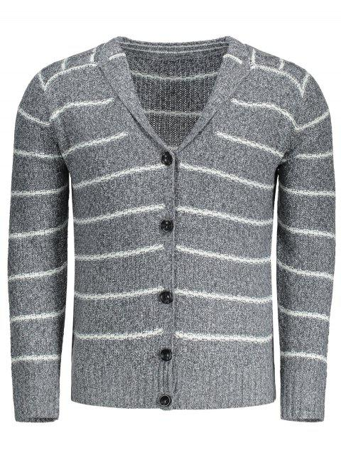 womens Shawl Collar Striped Cardigan - GRAY L Mobile