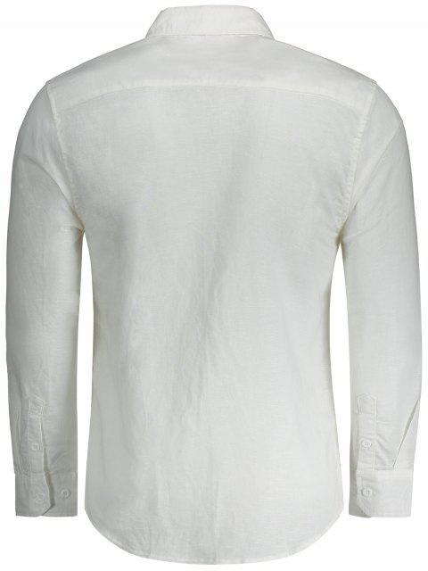 ボタンアッププリントポケットシャツ - 白 M Mobile