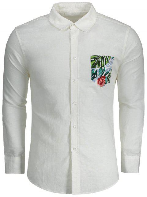 women Button Up Printed Pocket Shirt - WHITE M Mobile