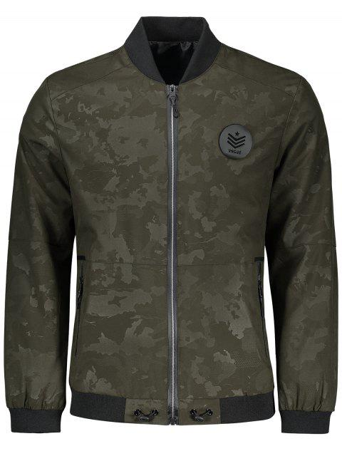 best Zippered Camo Bomber Jacket - ARMY GREEN 3XL Mobile