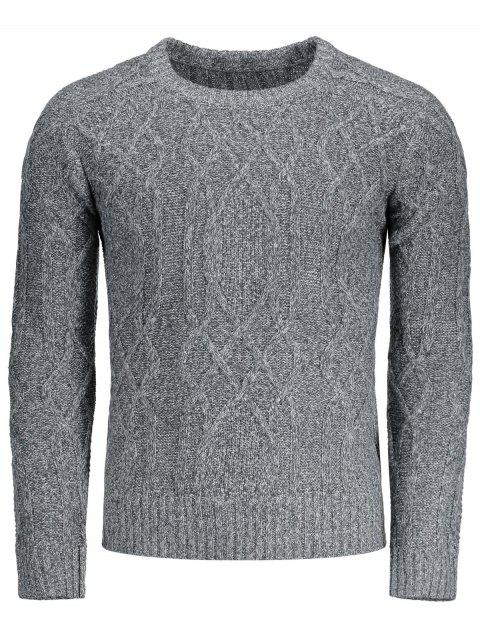 online Textured Heathered Sweater - GRAY 2XL Mobile