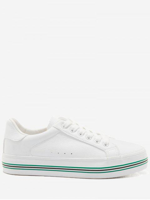 outfits Faux Leather Color Block Skate Shoes - WHITE AND GREEN 35 Mobile