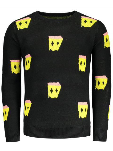 latest Crew Neck Patterned Sweater - BLACK 3XL Mobile