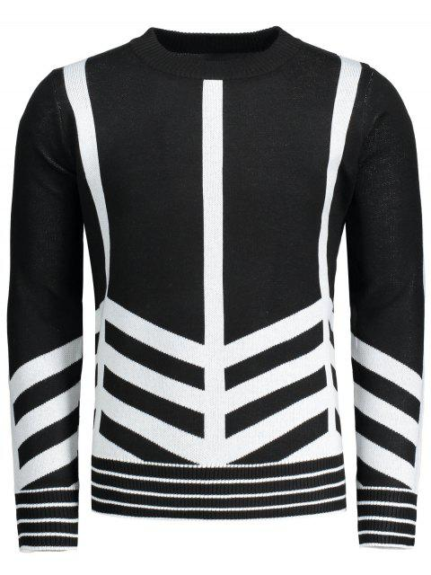 women Crew Neck Geometric Patterned Sweater - BLACK 2XL Mobile