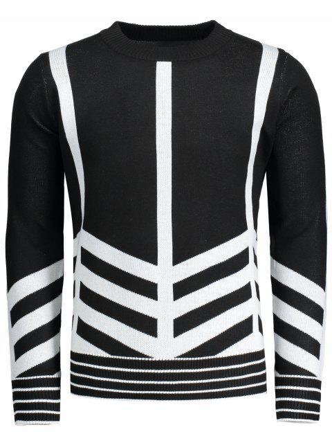 Jersey de cuello redondo con dibujos geométricos - Negro XL Mobile