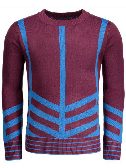 shop Crew Neck Geometric Patterned Sweater - DARK RED XL Mobile