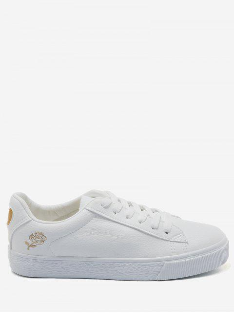 chic Stitching Floral Skate Shoes - GOLD AND WHITE 39 Mobile