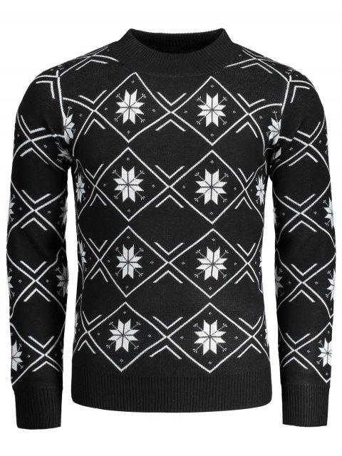 buy Mock Neck Snowflake Patterned Sweater - BLACK L Mobile