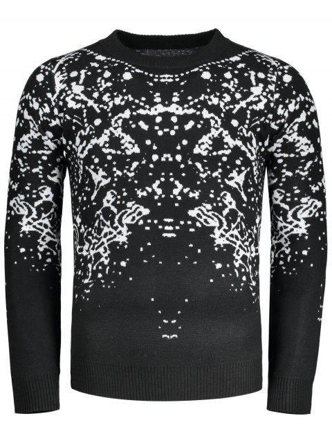 ladies Patterned Crew Neck Sweater - BLACK 2XL Mobile