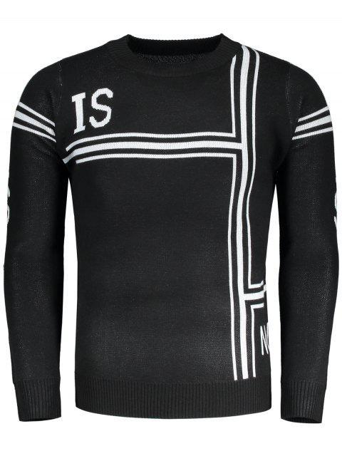 Graphic Pullover Rundhals Pullover - Schwarz L Mobile