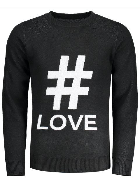 unique Graphic Love Sweater - BLACK XL Mobile