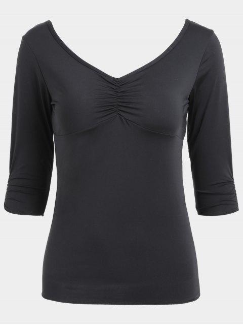 ladies V Neck Ruched Sporty Top - BLACK L Mobile