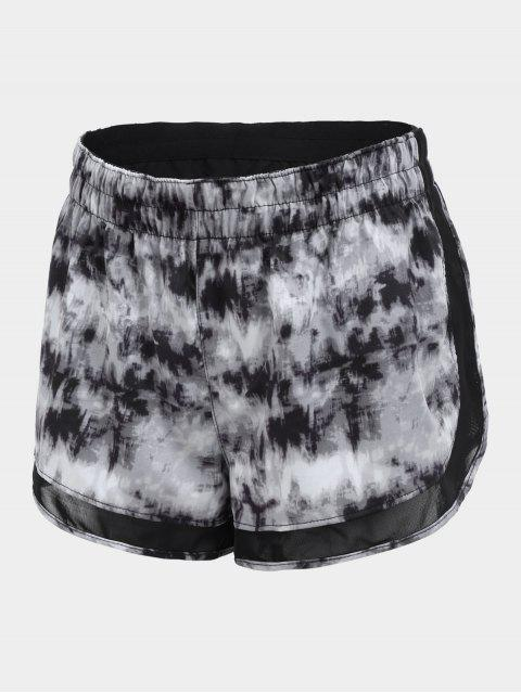 outfit Overlay Drawstring Tie Dyed Sports Shorts - GRAY S Mobile
