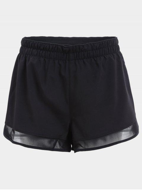Overlay Mesh Panel Drawstring Sport Shorts - Schwarz M Mobile