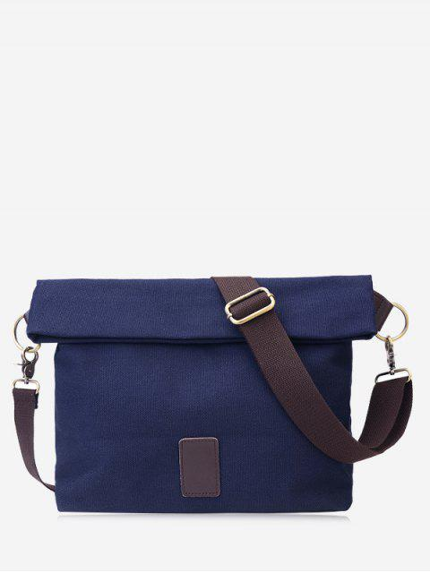 latest Badge Canvas Crossbody Bag - BLUE  Mobile
