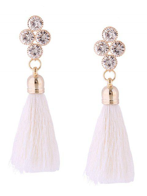 Boucles d'Oreilles Pendantes Motif Pompon et Strass Style Rétro - Blanc  Mobile