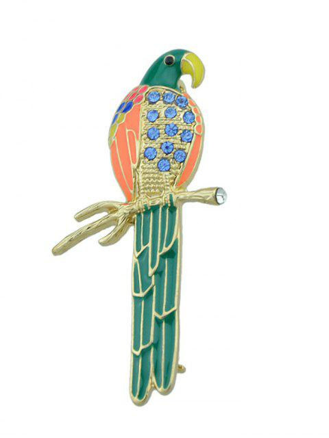 womens Rhinestone Branch Bird Parrot Brooch - GREEN  Mobile