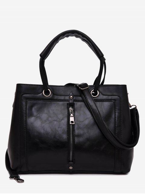 best PU Leather Zipper Detailed Tote Bag - BLACK  Mobile