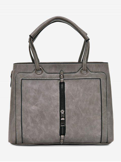 online PU Leather Zipper Detailed Tote Bag - GRAY  Mobile