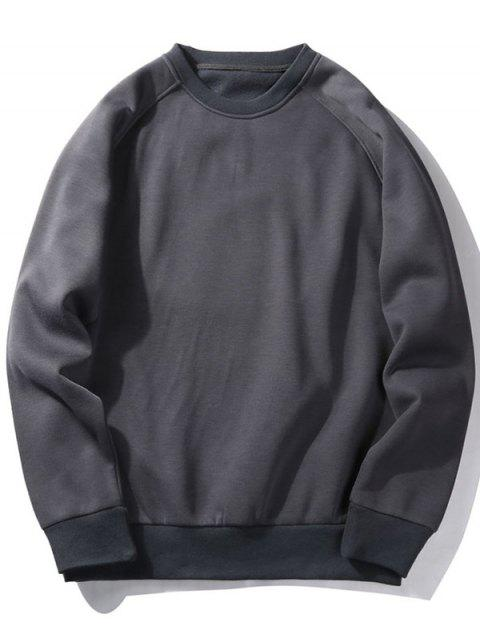 unique Fleece Crew Neck Sweatshirt - CHARCOAL GRAY M Mobile