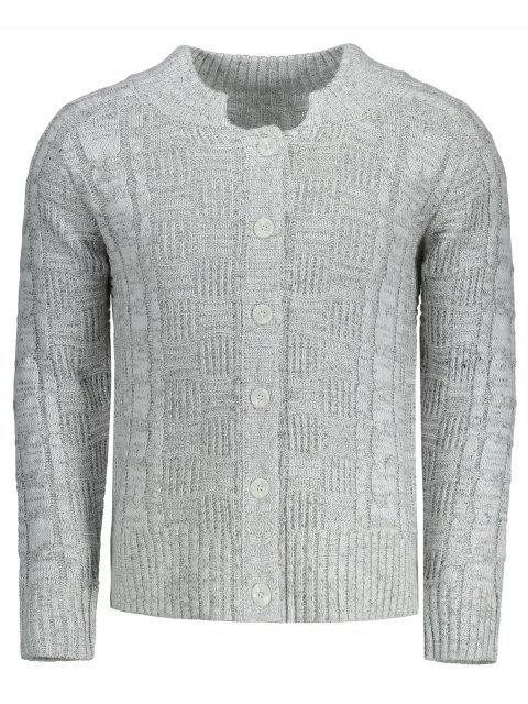 Cardigan Torsadé à Boutons - gris XL Mobile
