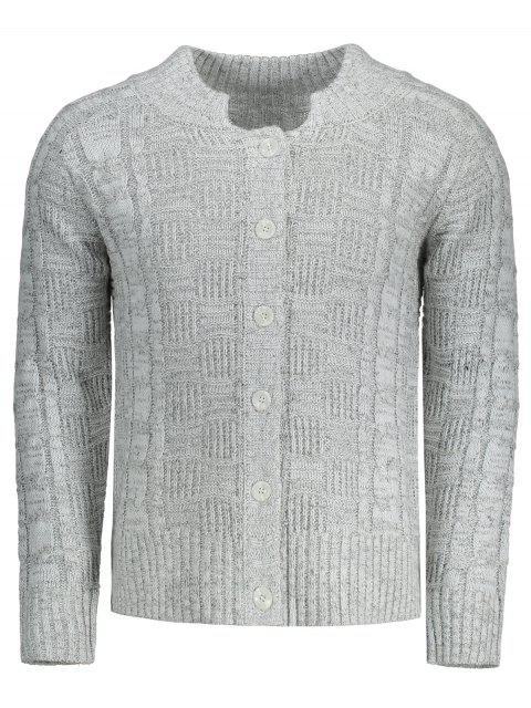 best Buttons Cable Knit Cardigan - GRAY L Mobile