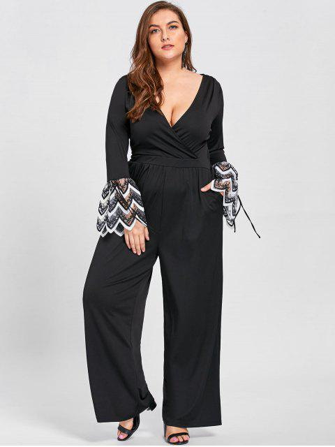 unique Plus Size Lace Cuff Low Cut Jumpsuit -   Mobile