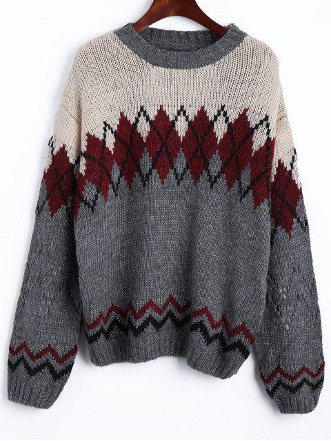 ladies Drop Shoulder Geometric Jacquard Jumper Sweater - COLORMIX ONE SIZE Mobile